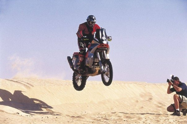 Jumping through the sahara on a prototype KTM (first ever KTM V-twin!)